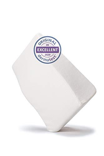 WELL B4® Comfort Venenkissen für die Beine, Beinhochlagerungskissen mit Bezug, Bein Keilkissen zum Hochlegen der Beine, Beinkissen 62 x 40 x 26 cm, weiß